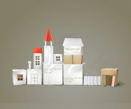 urban building: city street made of paper cubes with doors, windows and space for text