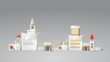 city street made of paper cubes with doors, windows and space for text Vector
