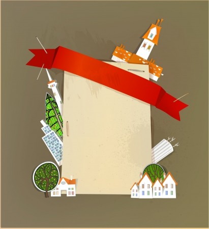 straight pin: city and paper background with red ribbon