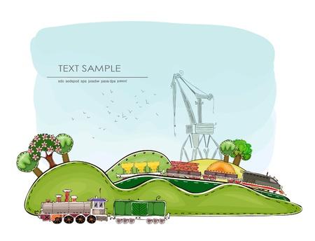 Traine and crane  Vector