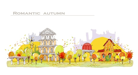 Autumn city background Vector