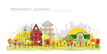 web design bridge: Autumn city background