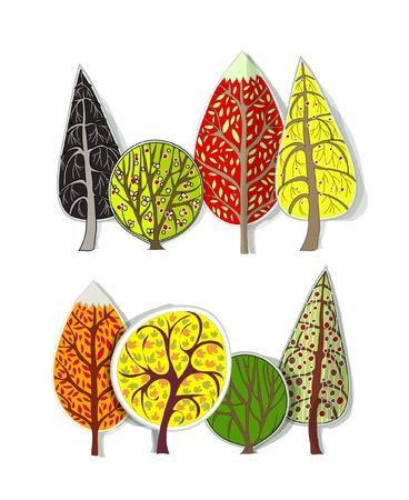 seasonal forest: autumn trees set