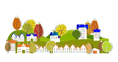 village and autumn trees Vector