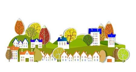 village and autumn trees