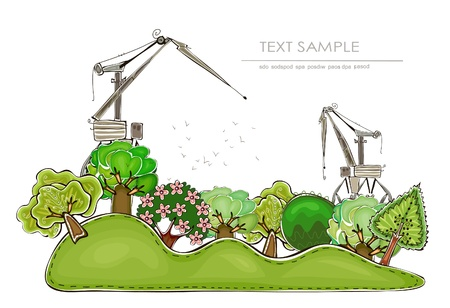 food industry: industry and nature Illustration