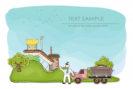 farm and factory background with space for text Vector