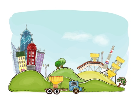 city and factory background Stock Vector - 14996953