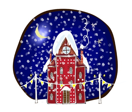 Christmas background with city s building Vector