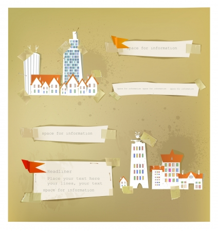 paper backgrounds and city street made of stickers