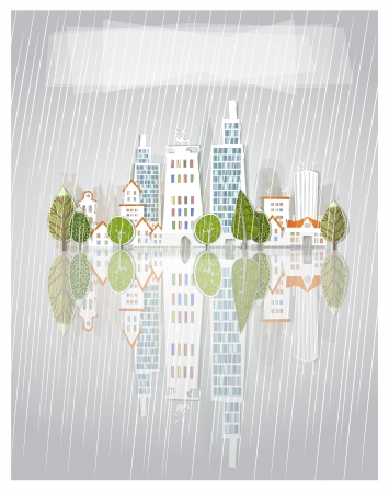 raining city background Vector