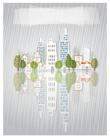 rain window: raining city background