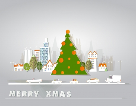 Christmas tree in the city Stock Vector - 15340000