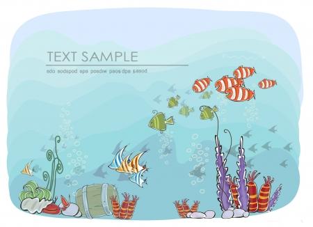aquatic life: under the sea backdround Illustration