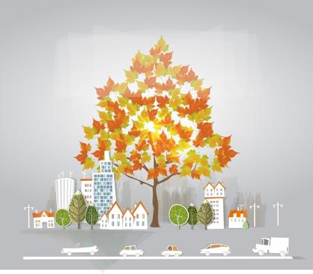 autumn in the city Ilustração