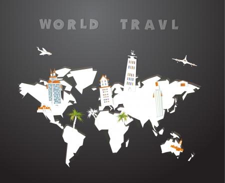 russland karte: Weltkarte aus Papier und Stadt Icons