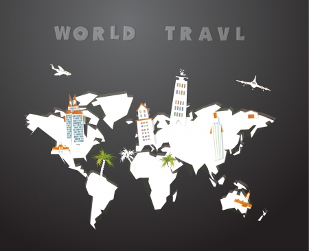 world travel: world map made of paper and city icons Illustration