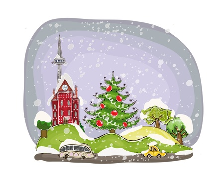 christmas tree illustration: Christmas in the city background Illustration
