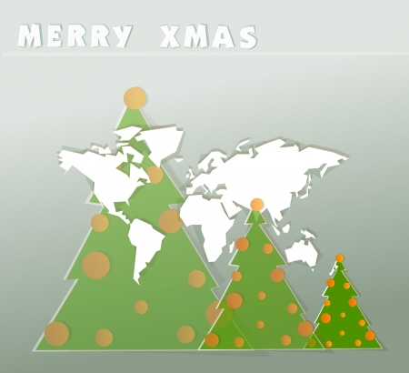 world map and Christmas background Vector