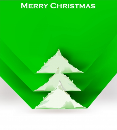 ripped paper background: Christmas tree ripped paper background