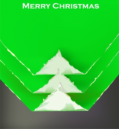 Christmas tree ripped paper background  Vector