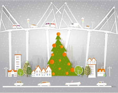 Christmas comes to the city Vector