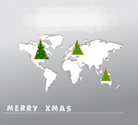 Christmas map made of paper Vector