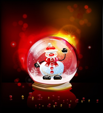 glass globe with Snowman Vector