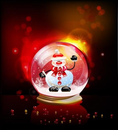 neige qui tombe: globe en verre avec bonhomme de neige