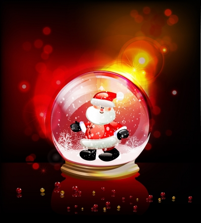glass globe with Santa Vector