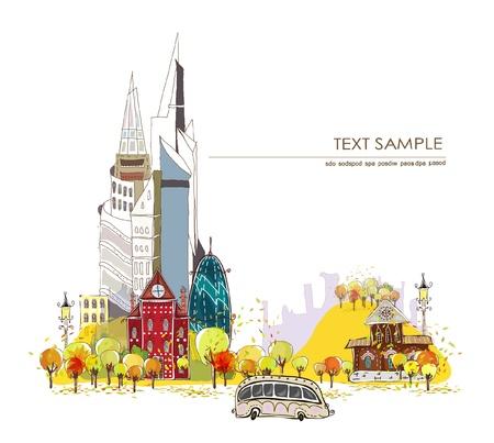 web design bridge: autumn in the city  Illustration