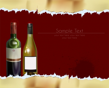 ripped paper background: ripped paper background with bottles of wine
