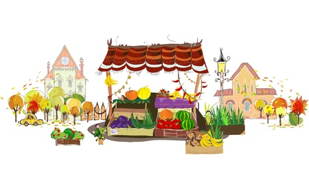 Fruit and Veg shop on the city street Vector