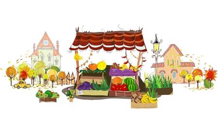 ilustracion: Frutas y verduras tienda en la calle de la ciudad Vectores