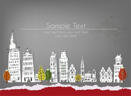 City background with ripped paper Vector