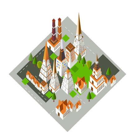3D city background Vector