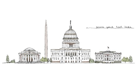 district of columbia: Washington background Illustration