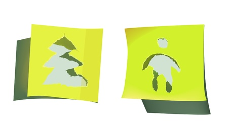 ripped paper design tree and man Vector