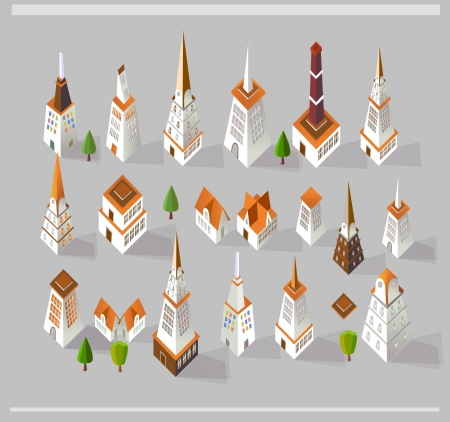 city buildings set Vector