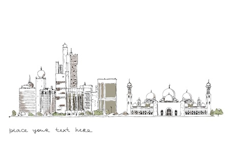 middle eastern background with modern buildings and mosque Vector