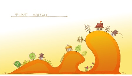 landscape architecture: cute village on the hills background Illustration