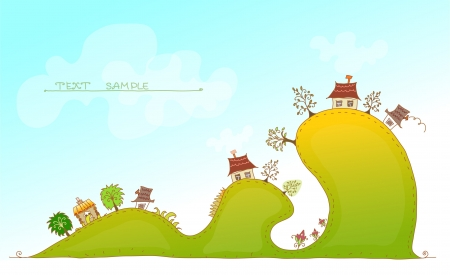 web design bridge: cute village on the hills background Illustration