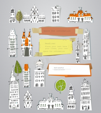 neighbor: city buildings set Illustration