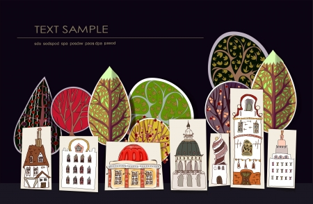 town square: City street made of colorful stickers Illustration