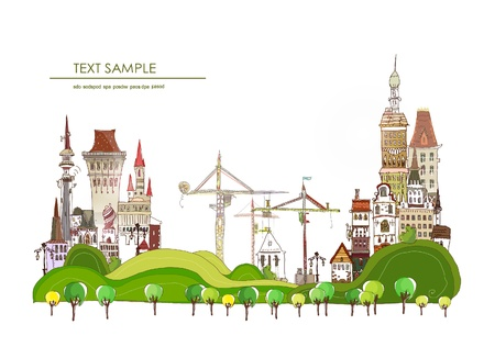 Building a new city background  Vector