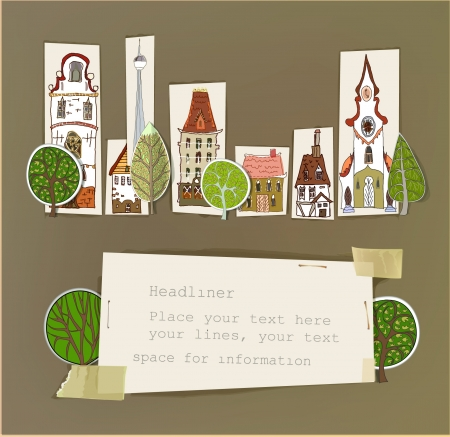 web design bridge: Paper stickers  City background  Illustration