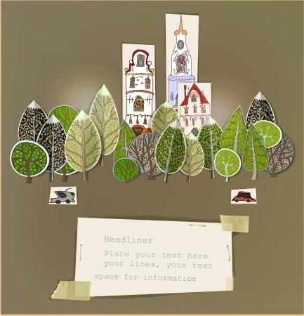 Paper stickers  City background  Illusztráció