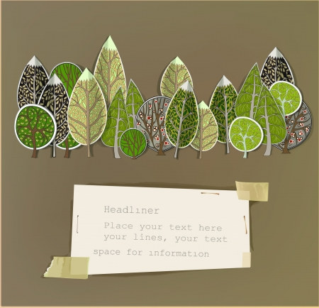 stickers forest and paper background