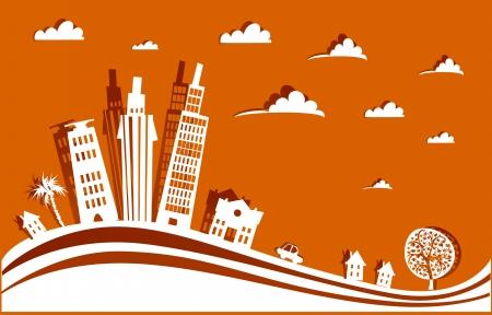 panorama city: city background Illustration