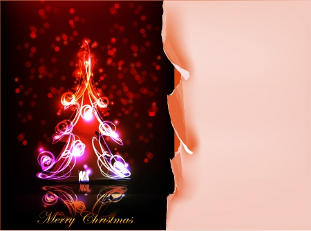 neon Christmas tree and ripped paper background Vector